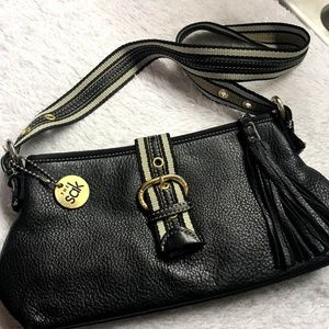 the Sak Black Leather Shoulder Bag with Tassel